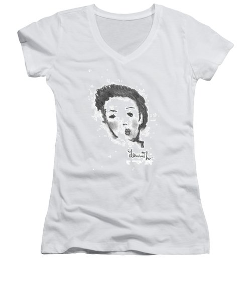 Women's V-Neck T-Shirt (Junior Cut) featuring the drawing Bubble Gum by Laurie L