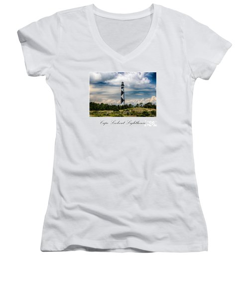 Cape Lookout Lighthouse Women's V-Neck T-Shirt (Junior Cut) by Tony Cooper