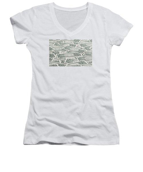 Women's V-Neck T-Shirt (Junior Cut) featuring the photograph Carpet Of One Dollar Bills by Lee Avison