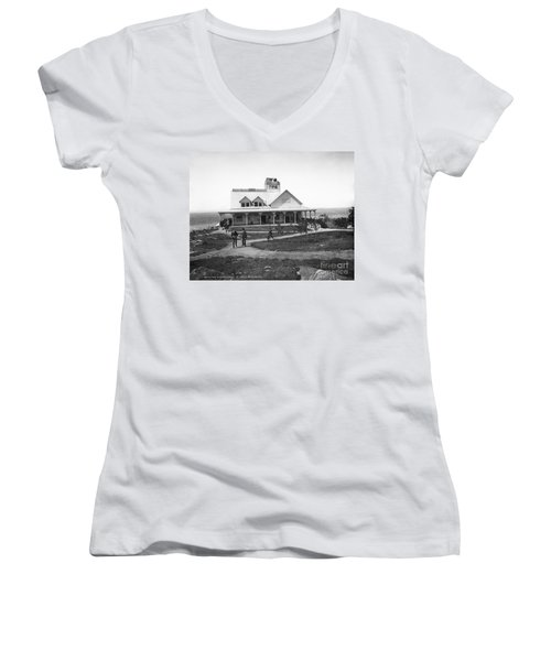 Casino At The Top Of Mt Beacon In Black And White Women's V-Neck T-Shirt