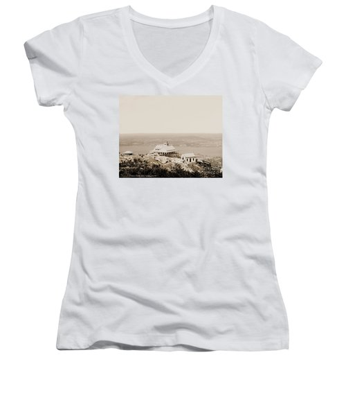 Casino At The Top Of Mt Beacon In Sepia Tone Women's V-Neck T-Shirt
