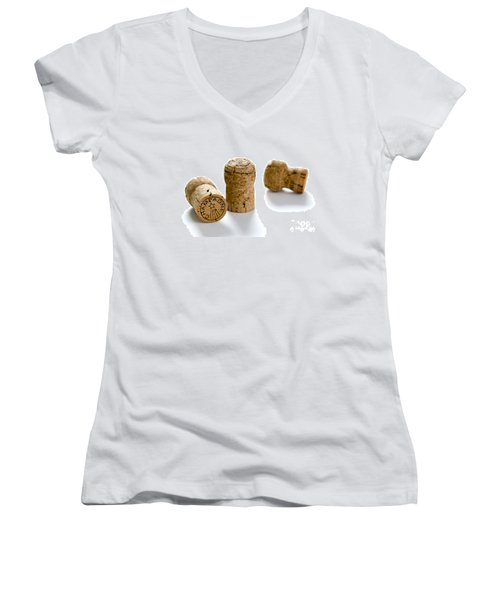 Women's V-Neck T-Shirt (Junior Cut) featuring the photograph Champagne Corks by Lee Avison
