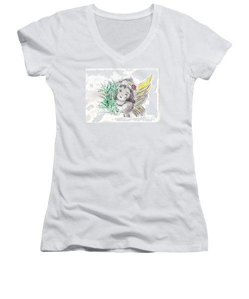 Christmas Angel Women's V-Neck T-Shirt (Junior Cut) by Laurie L