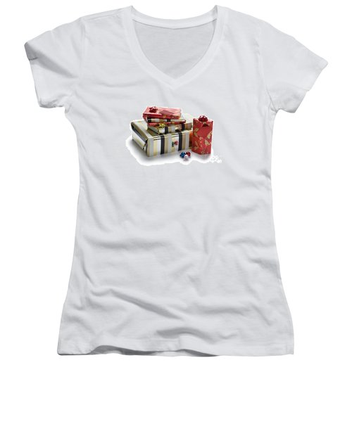Women's V-Neck T-Shirt (Junior Cut) featuring the photograph Christmas Gifts by Lee Avison