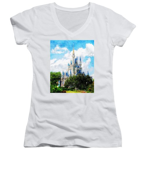 Cinderella Castle Women's V-Neck T-Shirt (Junior Cut) by Sandy MacGowan