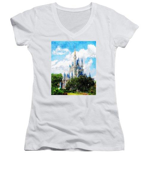 Cinderella Castle Women's V-Neck T-Shirt