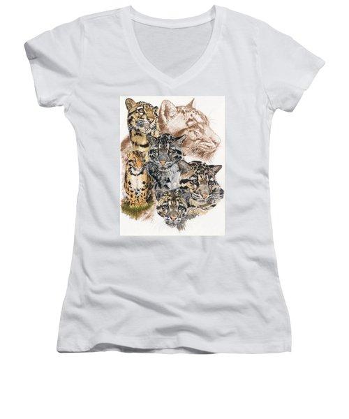 Cloudburst Women's V-Neck T-Shirt (Junior Cut) by Barbara Keith