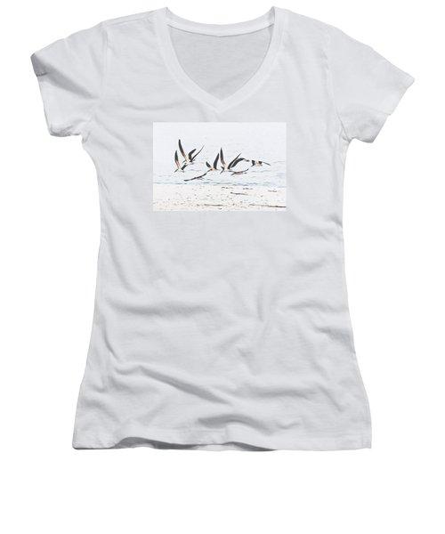Coastal Skimmers Women's V-Neck T-Shirt (Junior Cut) by Scott Cameron