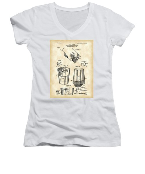 Cocktail Mixer And Strainer Patent 1902 - Vintage Women's V-Neck T-Shirt (Junior Cut) by Stephen Younts