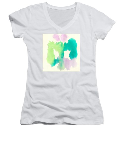 Women's V-Neck T-Shirt (Junior Cut) featuring the painting Cocoon by Frank Bright