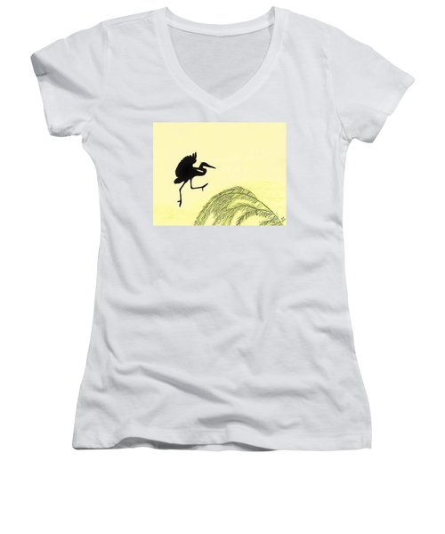 Coming In For A Landing Women's V-Neck