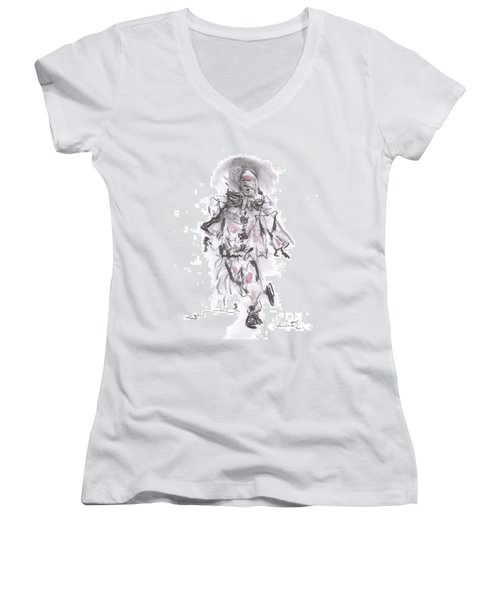 Dancing Clown Women's V-Neck T-Shirt (Junior Cut)