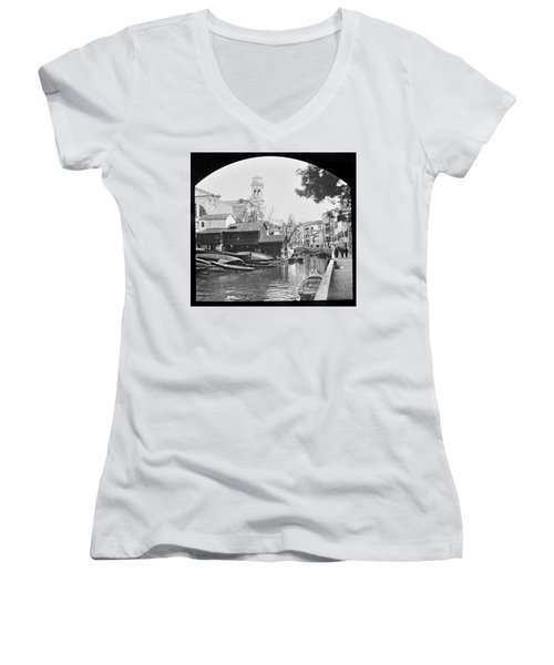 Women's V-Neck T-Shirt (Junior Cut) featuring the photograph Pegnitz River Nuremberg Germany 1903 by A Gurmankin