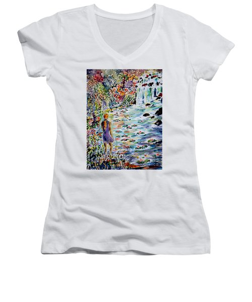Daughter Of The River Women's V-Neck T-Shirt (Junior Cut) by Alfred Motzer