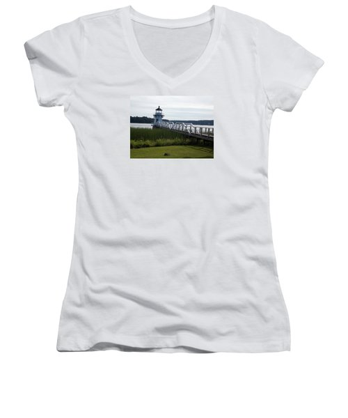 Doubling Point Lighthouse Women's V-Neck T-Shirt (Junior Cut) by Catherine Gagne