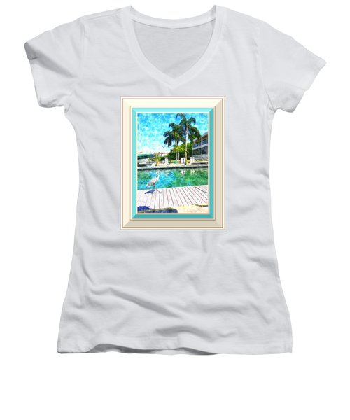 Dry Dock Bird Walk - Digitally Framed Women's V-Neck T-Shirt (Junior Cut) by Susan Molnar