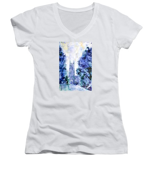 Duke Chapel Women's V-Neck T-Shirt (Junior Cut) by Ryan Fox