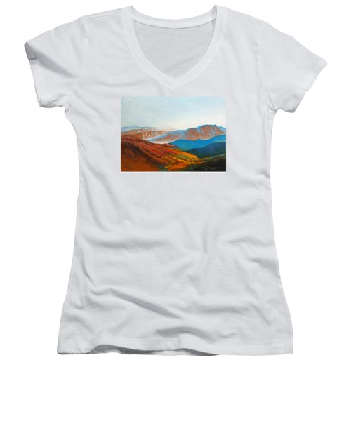 East Fall Blue Ridge Mountains 2 Women's V-Neck T-Shirt