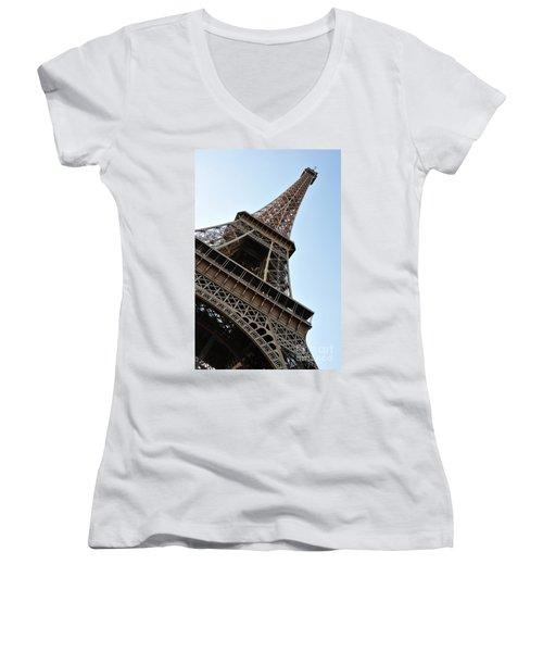 Women's V-Neck T-Shirt (Junior Cut) featuring the photograph Eiffel Tower by Joe  Ng