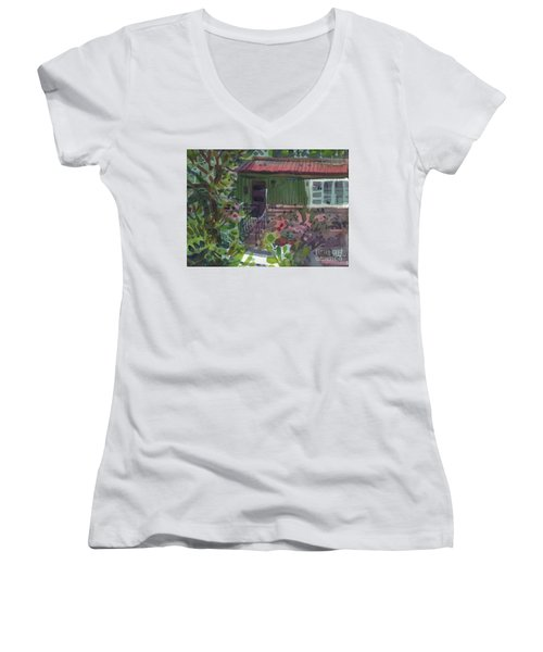 Women's V-Neck T-Shirt (Junior Cut) featuring the painting Entrance by Donald Maier