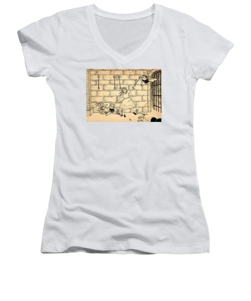 Women's V-Neck T-Shirt (Junior Cut) featuring the drawing Escape by Reynold Jay