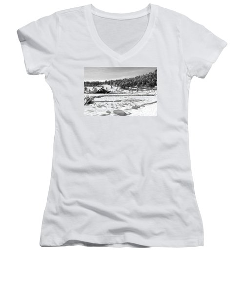 Women's V-Neck T-Shirt (Junior Cut) featuring the photograph Evergreen Lake House Winter by Ron White