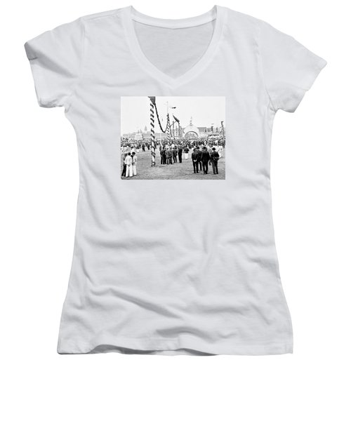 Women's V-Neck T-Shirt (Junior Cut) featuring the photograph Festival Place Millerntor Hamburg Germany 1903 by A Gurmankin