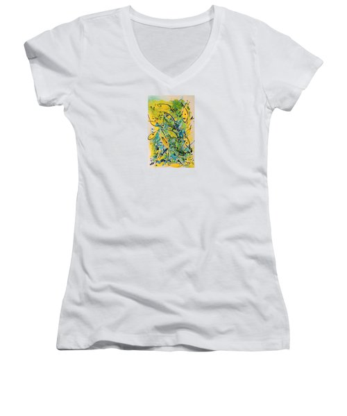 Women's V-Neck T-Shirt (Junior Cut) featuring the painting Fish Frenzy by Lyn Olsen