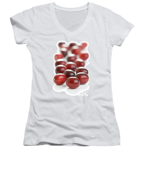 Women's V-Neck T-Shirt (Junior Cut) featuring the photograph Fresh Cranberries Isolated by Lee Avison
