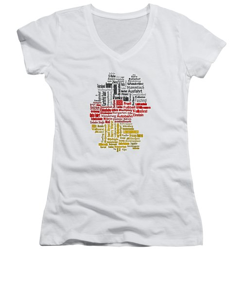 Germany Map Women's V-Neck T-Shirt (Junior Cut)