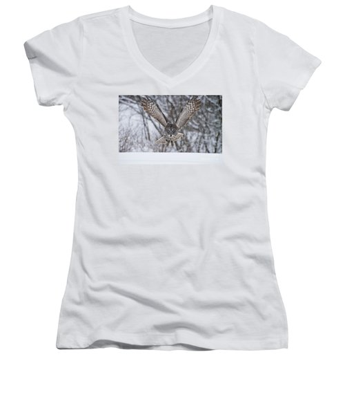 Great Gray Owl Women's V-Neck (Athletic Fit)