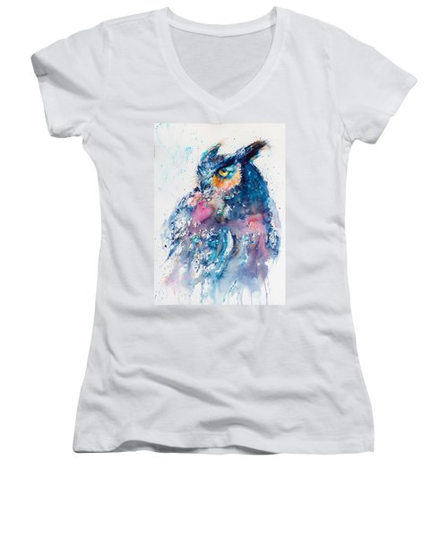 Great Horned Owl Women's V-Neck T-Shirt (Junior Cut)