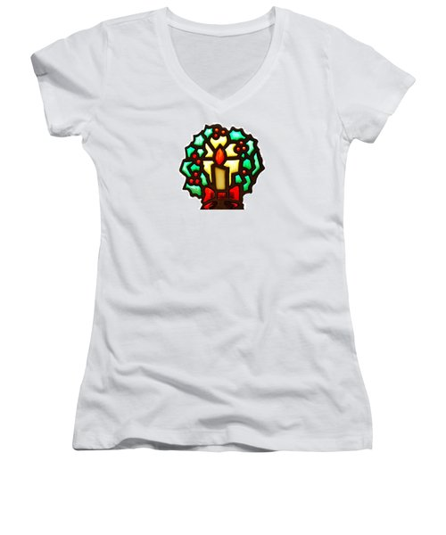 Happy Holidays Women's V-Neck T-Shirt (Junior Cut) by Ludwig Keck
