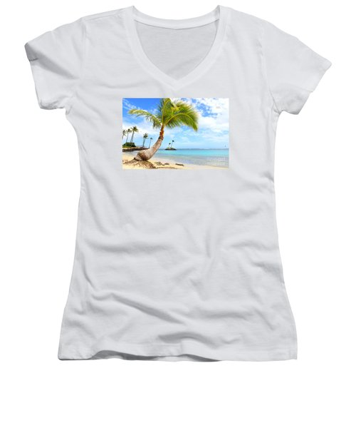 Hawaiian Paradise Women's V-Neck T-Shirt (Junior Cut) by Kristine Merc