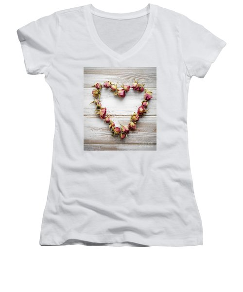 Heart From Dry Rose Buds Women's V-Neck T-Shirt