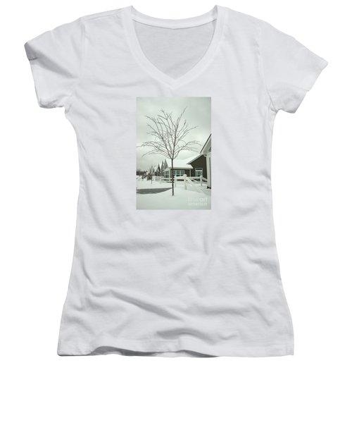 Hello Snow Women's V-Neck T-Shirt (Junior Cut) by Roberta Byram