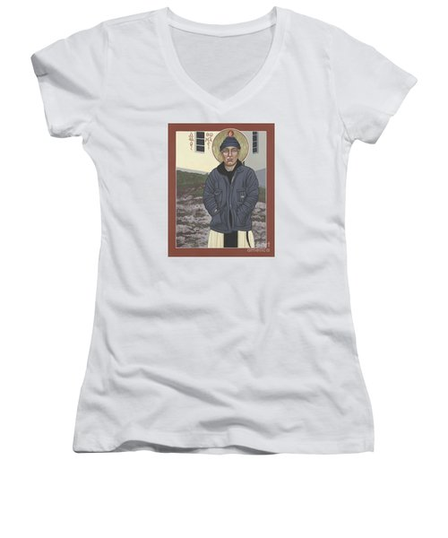 Holy World Evangelist Thomas Merton 267 Women's V-Neck T-Shirt (Junior Cut) by William Hart McNichols