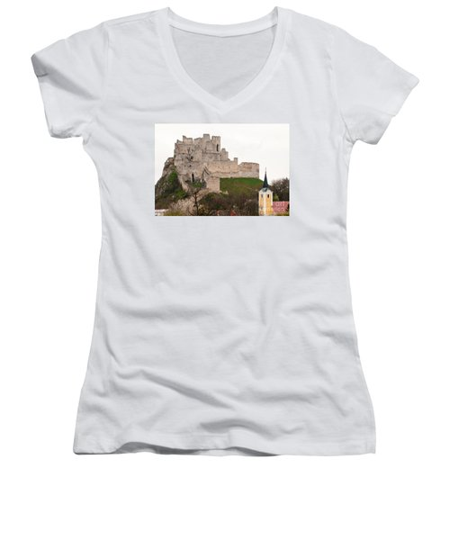 Women's V-Neck T-Shirt (Junior Cut) featuring the photograph Hrad Beckov - Castle by Les Palenik