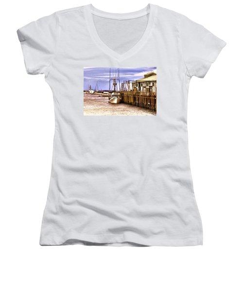 Women's V-Neck T-Shirt (Junior Cut) featuring the painting Kristy by Muhie Kanawati