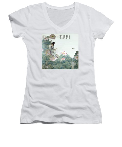 Women's V-Neck T-Shirt (Junior Cut) featuring the photograph Lotus Pond by Yufeng Wang