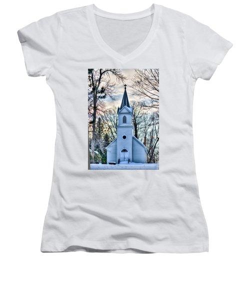 Maria Chapel Women's V-Neck T-Shirt (Junior Cut) by Paul Freidlund