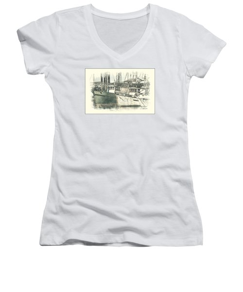 Moored Fishing Boats Women's V-Neck