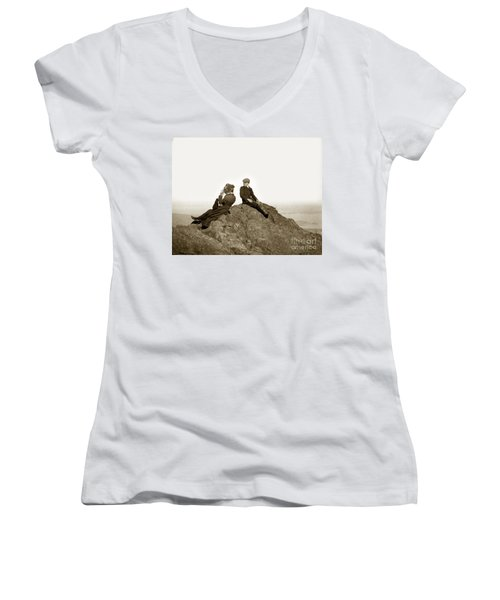 Women's V-Neck T-Shirt (Junior Cut) featuring the photograph Mount Tamalpais Marin County  Circa 1902 by California Views Mr Pat Hathaway Archives