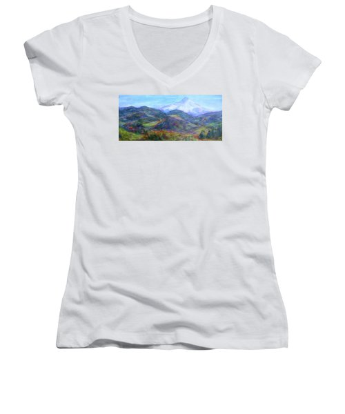 Mountain Patchwork Women's V-Neck