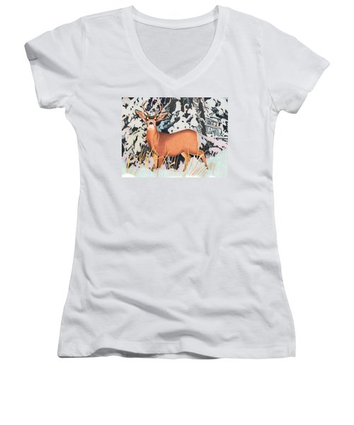 Mule Deer Women's V-Neck T-Shirt (Junior Cut) by Dan Miller