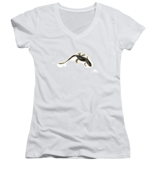 Mutated Eastern Newt Women's V-Neck T-Shirt (Junior Cut) by Lawrence Lawry