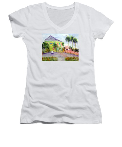 Old Key Lime House Women's V-Neck T-Shirt (Junior Cut) by Donna Walsh