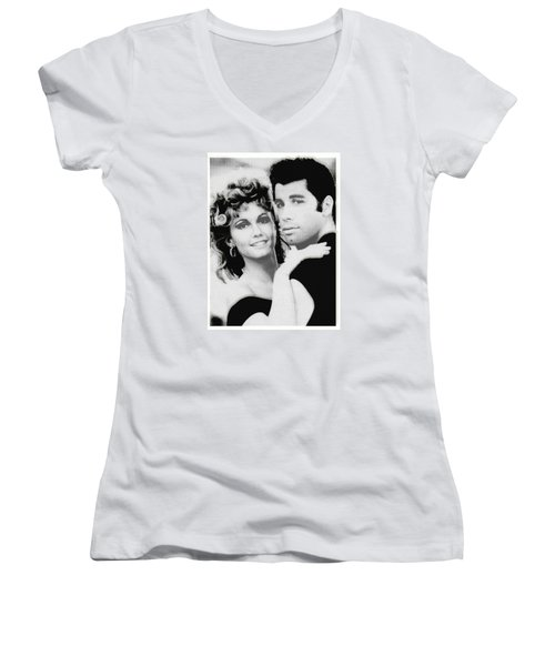 Olivia Newton John And John Travolta In Grease Collage Women's V-Neck