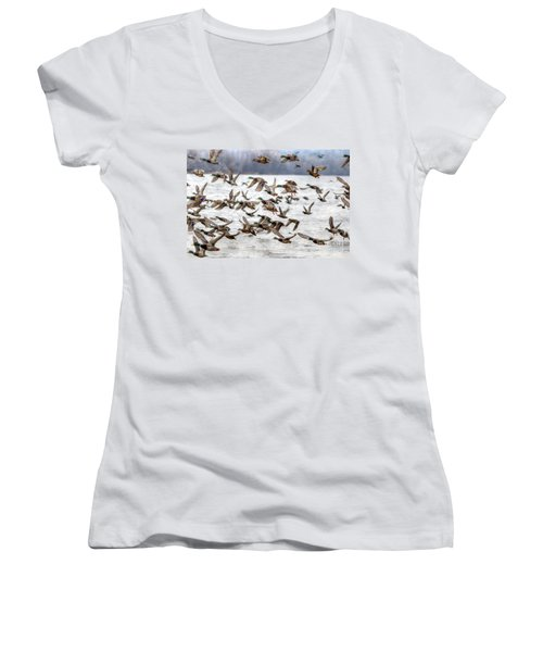 Women's V-Neck T-Shirt (Junior Cut) featuring the photograph One Direction by Robert Pearson