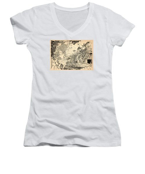 Women's V-Neck T-Shirt (Junior Cut) featuring the drawing Open Sesame by Reynold Jay